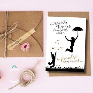 Carte postale – Au revoir et merci de m'avoir aidé à prendre mon envol