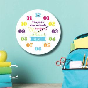 Horloge – D'après mes calculs scientifiques, c'est l'heure de la récré!