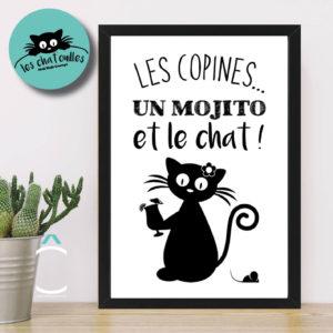 Cadre – Les copines, un mojito et le chat !