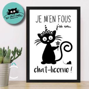 Cadre – Je m'en fous, j'ai un chat-licorne !