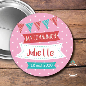 Badge personnalisable communion/fête laïque