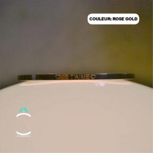 Bracelet message – Je t'aime – Couleur: rose gold
