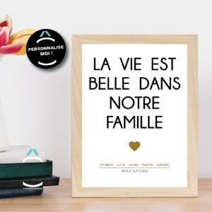 Cadre personnalisable – La vie est belle dans notre famille