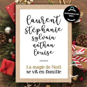 Cadre personnalisable – La magie de Noël se vit en famille