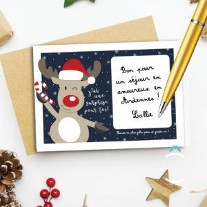 Carte à gratter – Renne de Noël
