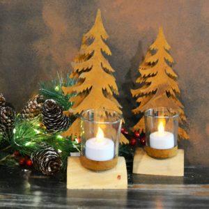 Noël – Bougeoir en acier corten