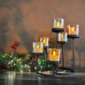 Noël – Bougeoir en verre et métal noir
