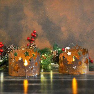 Noël – Bougeoir étoiles en acier corten