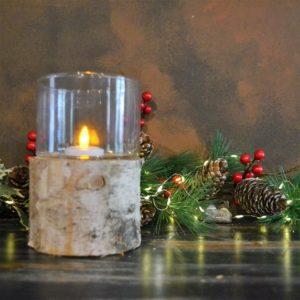Noël – Bougeoir en bois et verre