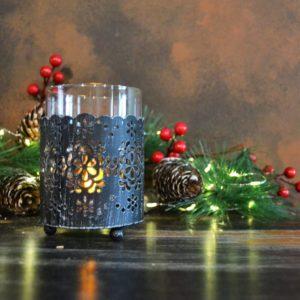 Noël – Bougeoir en métal et verre