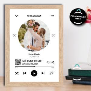 Cadre personnalisable interactif – Notre chanson