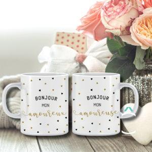 Duo de mugs – Bonjour mon amoureux/amoureuse