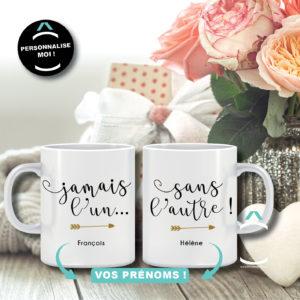 Duo de mugs personnalisables – Jamais l'un… sans l'autre!