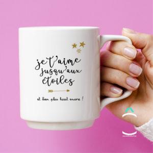 Mug – Je t'aime jusqu'aux étoiles et bien plus haut encore!