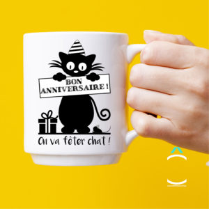 Mug – Bon anniversaire! On va fêter chat!