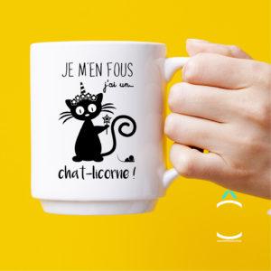Mug – Je m'en fous, j'ai un chat-licorne!