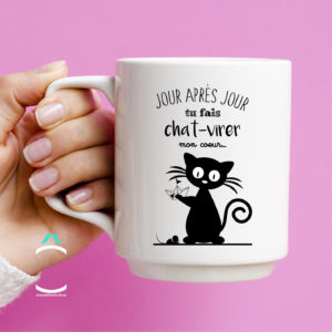 Mug – Jour après jour, tu fais chat-virer mon coeur!