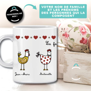 Mug personnalisable – Famille Poule