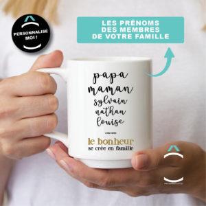 Mug personnalisable – Le bonheur se crée en famille