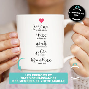 Mug personnalisable – Prénoms et dates de naissance