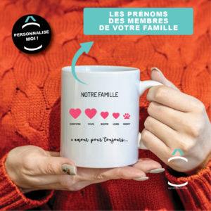 Mug personnalisable – Notre famille (= amour toujours)