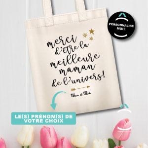 Tote-bag personnalisé – Merci d'être la meilleure maman de l'univers!