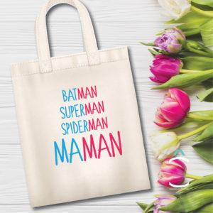 Tote-bag – Batman, Superman, Spiderman, Maman