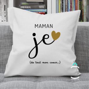 Coussin – Maman, je t'aime de tout mon coeur