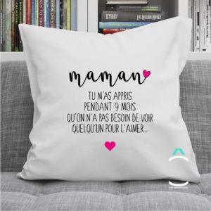 Coussin – Maman, tu m'as appris pendant 9 mois