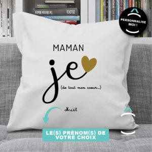 Coussin personnalisable – Maman, je t'aime de tout mon coeur