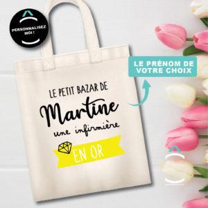 Tote-bag personnalisé – Le petit bazar d'une infirmière en or