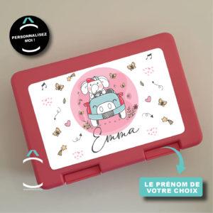 Boîte à tartines/goûter personnalisée – En voiture!