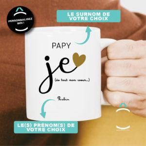 Mug personnalisable – Je t'aime de tout mon coeur