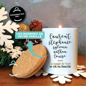 Bougie personnalisable avec couvercle en liège – Noël en famille