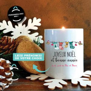Bougie personnalisable avec couvercle en liège – Joyeux Noël et bonne année