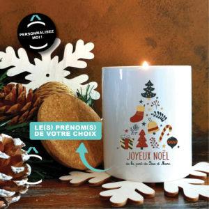 Bougie personnalisable avec couvercle en liège – Noël