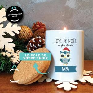 Bougie personnalisable avec couvercle en liège – Joyeux Noël au plus chouette