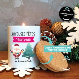 Bougie personnalisable avec couvercle en liège – Père Noël
