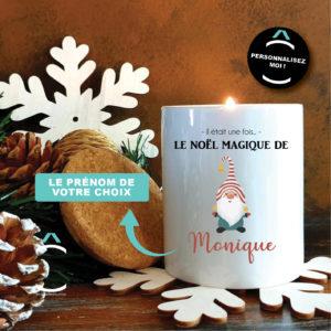 Bougie personnalisable avec couvercle en liège – Lutin de Noël