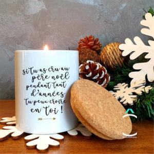 Bougie avec couvercle en liège – Noël