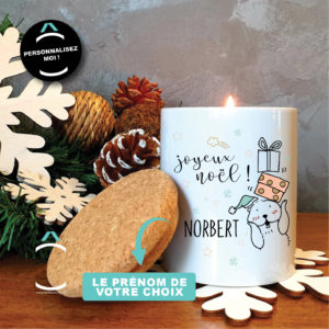 Bougie personnalisable avec couvercle en liège – Joyeux Noël